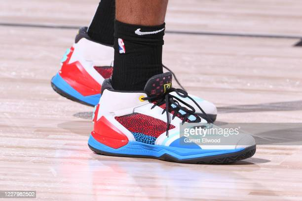 The sneakers worn by Kawhi Leonard of the LA Clippers during the game against the Brooklyn Nets on August 9 2020 at AdventHealth Arena in Orlando...