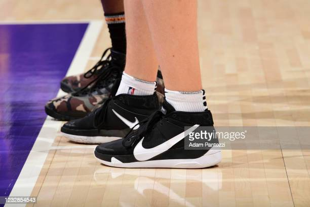 The sneakers worn by Kelly Olynyk of the Houston Rockets during the game against the Los Angeles Lakers on May 12, 2021 at STAPLES Center in Los...