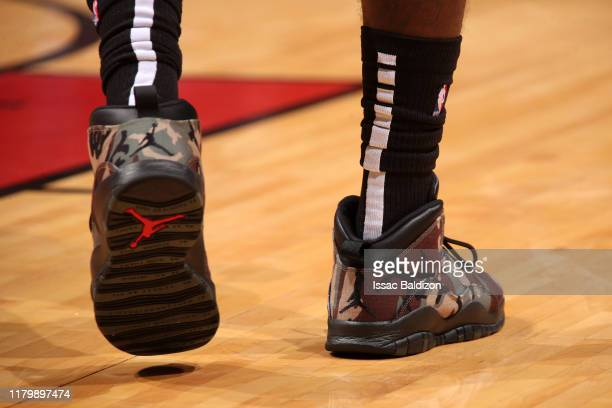 The sneakers worn by Kendrick Nunn of the Miami Heat during a game against the Houston Rockets on November 3 2019 at American Airlines Arena in Miami...