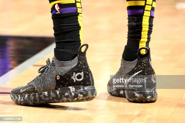 The sneakers worn by Kentavious CaldwellPope of the Los Angeles Lakers against the San Antonio Spurs on December 7 2018 at ATT Center in San Antonio...