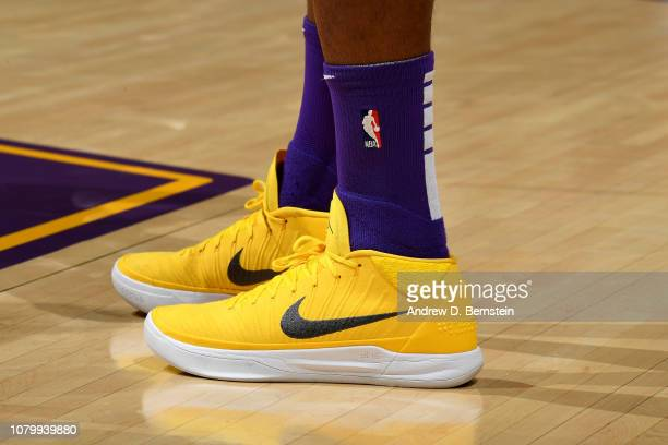 The sneakers worn by Kentavious CaldwellPope of the Los Angeles Lakers against the Detroit Pistons on January 9 2019 at STAPLES Center in Los Angeles...