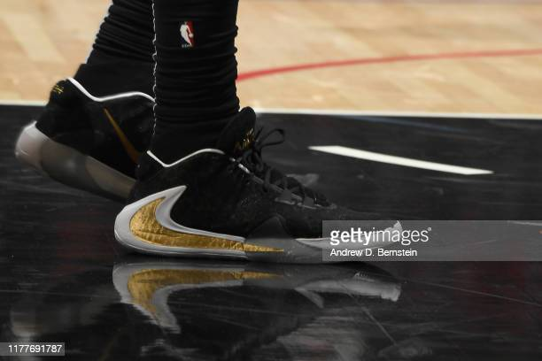The sneakers worn by Kentavious CaldwellPope of the Los Angeles Lakers against the LA Clippers on October 22 2019 at STAPLES Center in Los Angeles...