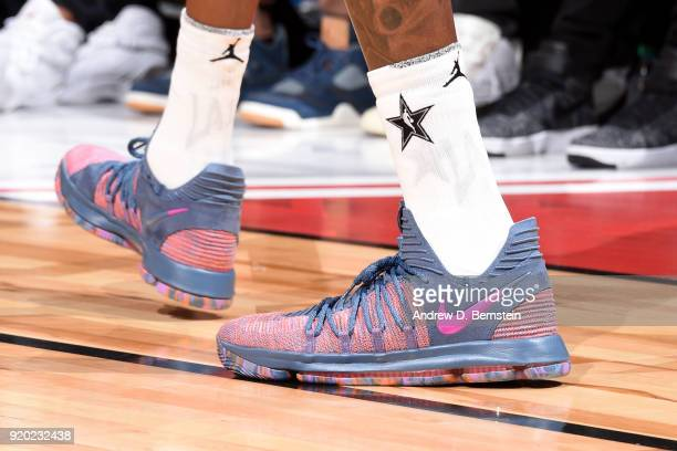 the sneakers worn by Kevin Durant Of Team LeBron are seen during the NBA AllStar Game as a part of 2018 NBA AllStar Weekend at STAPLES Center on...