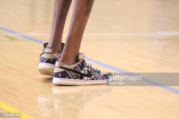The sneakers worn by Kevin Durant of the USA Men's National Team during USAB Mens National Team practice on July 29, 2021 in Tokyo, Japan. NOTE TO...