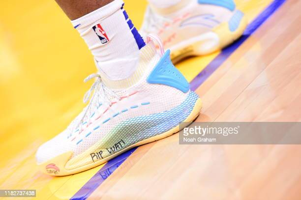 The sneakers worn by Kevon Looney of the Golden State Warriors against the Boston Celtics on November 15 2019 at Chase Center in San Francisco...