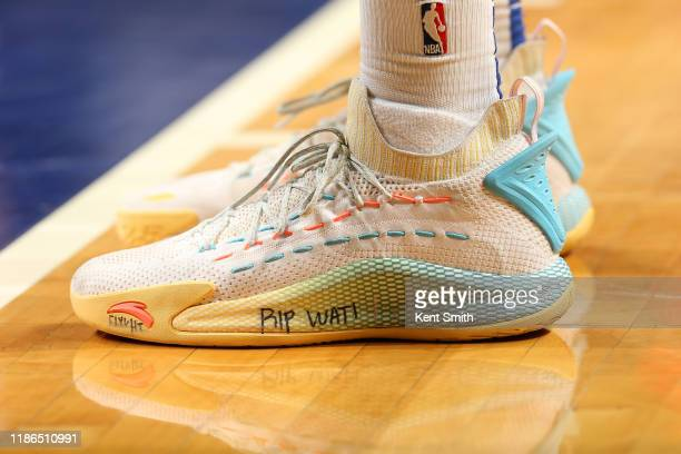 The sneakers worn by Kevon Looney of the Golden State Warriors against the Charlotte Hornets on December 04 2019 at Spectrum Center in Charlotte...