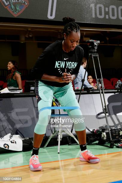 the sneakers worn by Kia Vaughn of the New York Liberty are seen against the Washington Mystics on July 21 2018 at Westchester County Center in White...