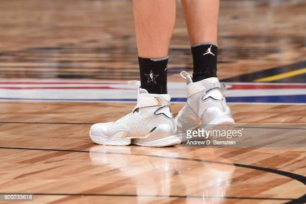the sneakers worn by Klay Thompson Of Team Stephen are seen during the NBA AllStar Game as a part of 2018 NBA AllStar Weekend at STAPLES Center on...