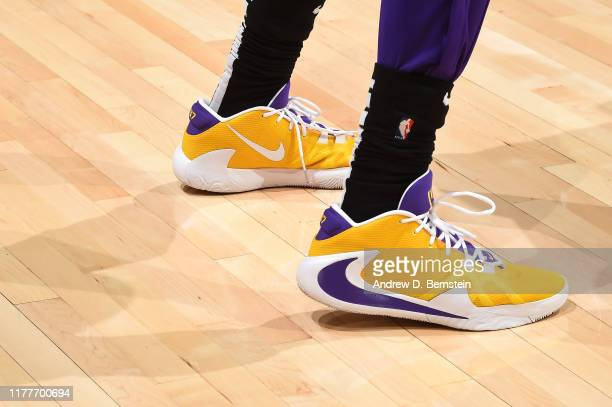 The sneakers worn by Kostas Antetokounmpo of the Los Angeles Lakers against the LA Clippers on October 22 2019 at STAPLES Center in Los Angeles...