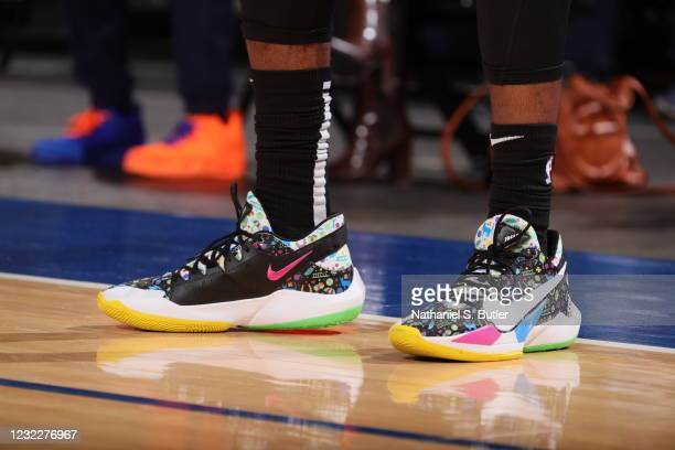 The sneakers worn by Kostas Antetokounmpo of the Los Angeles Lakers during the game against the New York Knicks on April 12, 2021 at Madison Square...