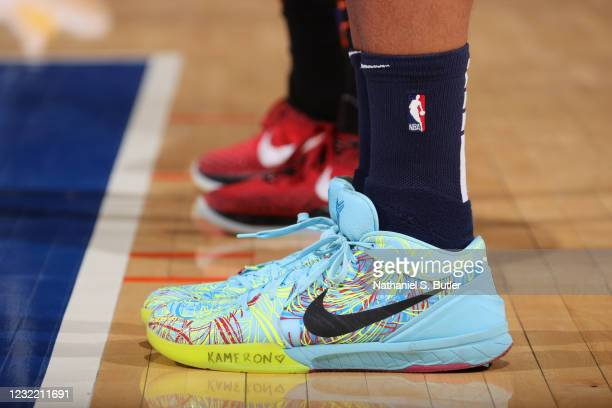 The sneakers worn by Kyle Anderson of the Memphis Grizzlies during the game against the New York Knicks on April 9, 2021 at Madison Square Garden in...