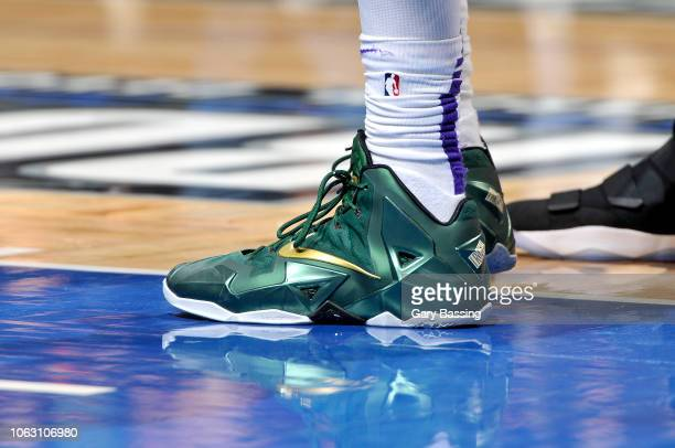 The sneakers worn by Kyle Kuzma of the Los Angeles Lakers against the Orlando Magic on November 17 2018 at Amway Center in Orlando Florida NOTE TO...