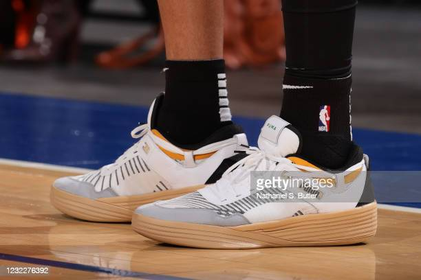 The sneakers worn by Kyle Kuzma of the Los Angeles Lakers during the game against the New York Knicks on April 12, 2021 at Madison Square Garden in...
