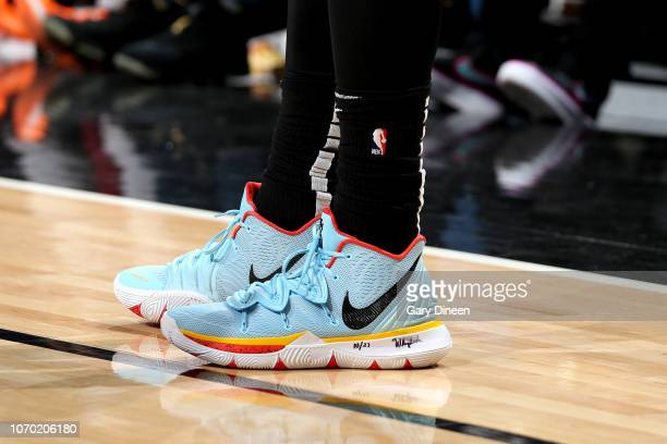 The sneakers worn by Kyrie Irving of the Boston Celtics against the Chicago Bulls on December 8 2018 at the United Center in Chicago Illinois NOTE TO...