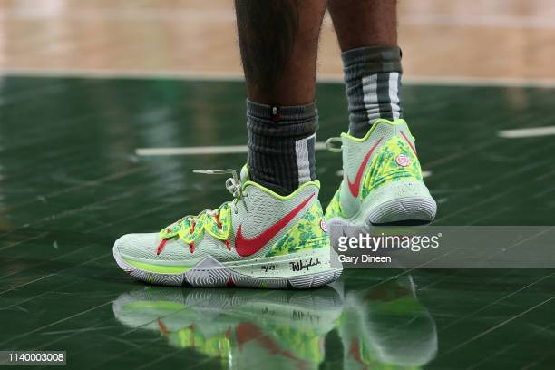 The sneakers worn by Kyrie Irving of the Boston Celtics against the Milwaukee Bucks during Game One of the Eastern Conference Semifinals of the 2019...