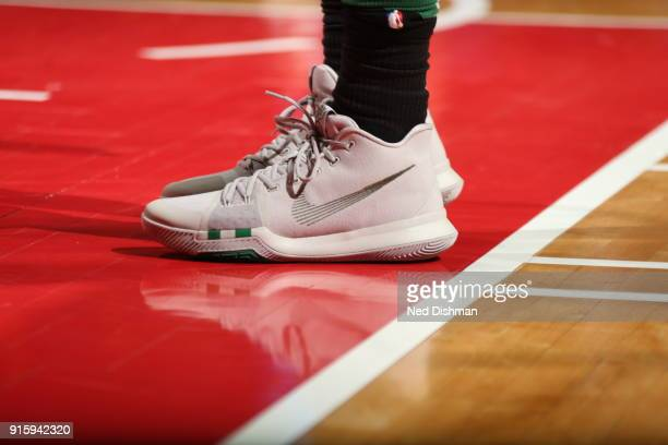 the sneakers worn by Kyrie Irving of the Boston Celtics are seen during warm ups prior to the game against the Washington Wizards on February 8 2018...