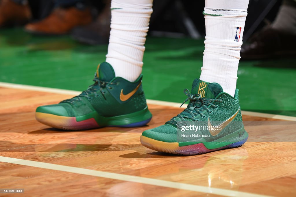 the sneakers worn by Kyrie Irving #11 of the Boston Celtics are seen during the game against the Minnesota Timberwolves on January 5, 2018 at the TD Garden in Boston, Massachusetts.