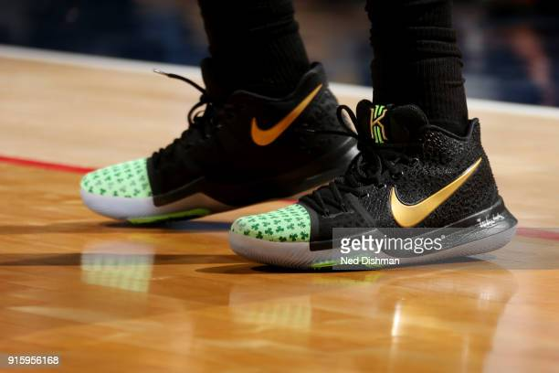 the sneakers worn by Kyrie Irving of the Boston Celtics are seen during the game against the Washington Wizards on February 8 2018 at Capital One...