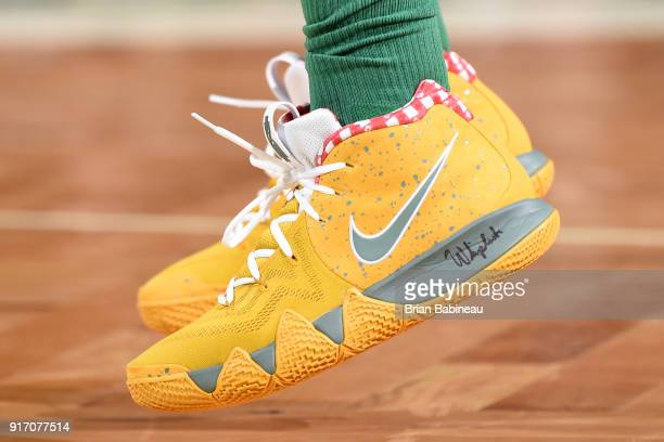 the sneakers worn by Kyrie Irving of the Boston Celtics are seen during the game against the Cleveland Cavaliers on February 11 2018 at the TD Garden...