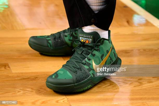 The sneakers worn by Kyrie Irving of the Boston Celtics are seen prior to the game against the Dallas Mavericks on December 6 2017 at the TD Garden...