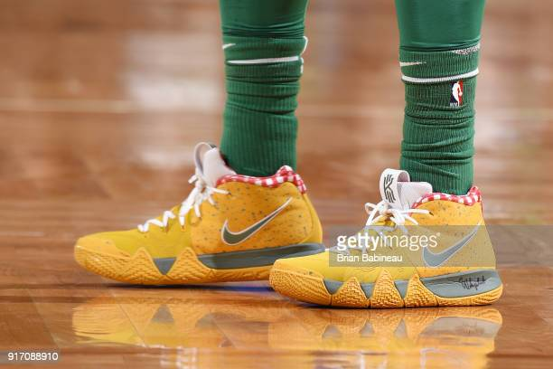 the sneakers worn by Kyrie Irving of the Boston Celtics during the game against the Cleveland Cavaliers on February 11 2018 at the TD Garden in...