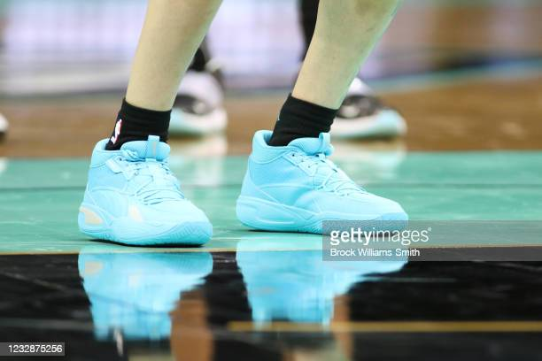The sneakers worn by LaMelo Ball of the Charlotte Hornets during the game on May 13, 2021 at Spectrum Center in Charlotte, North Carolina. NOTE TO...