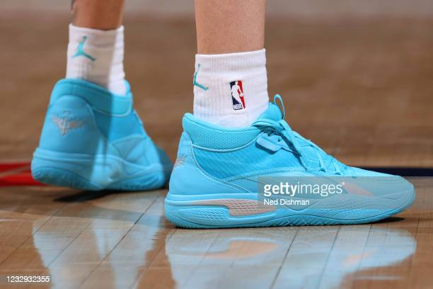 The sneakers worn by LaMelo Ball of the Charlotte Hornets during the game against the Washington Wizards on May 16, 2021 at Capital One Arena in...