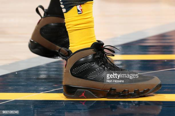 the sneakers worn by Lance Stephenson of the Indiana Pacers are seen during warm up prior to the game against the Minnesota Timberwolves on December...