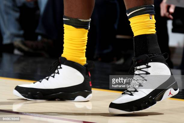 the sneakers worn by Lance Stephenson of the Indiana Pacers are seen against the Cleveland Cavaliers in Game One of Round One of the 2018 NBA...