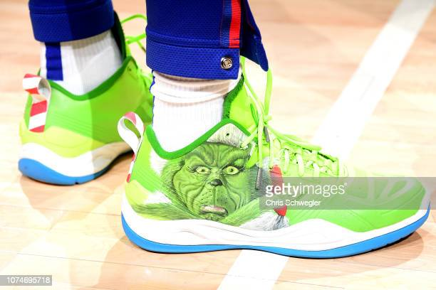 The sneakers worn by Langston Galloway of the Detroit Pistons against the Atlanta Hawks on December 23 2018 at Little Caesars Arena in Detroit...