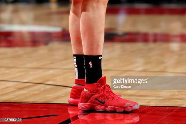 The sneakers worn by Lauri Markkanen of the Chicago Bulls against the Atlanta Hawks on January 23 2019 at the United Center in Chicago Illinois NOTE...