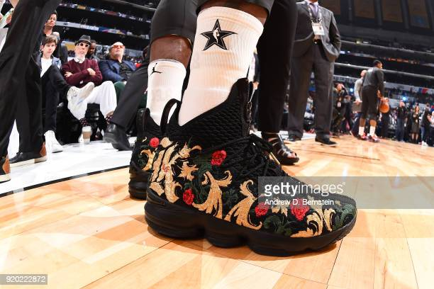 the sneakers worn by LeBron James Of Team LeBron are seen during the NBA AllStar Game as a part of 2018 NBA AllStar Weekend at STAPLES Center on...