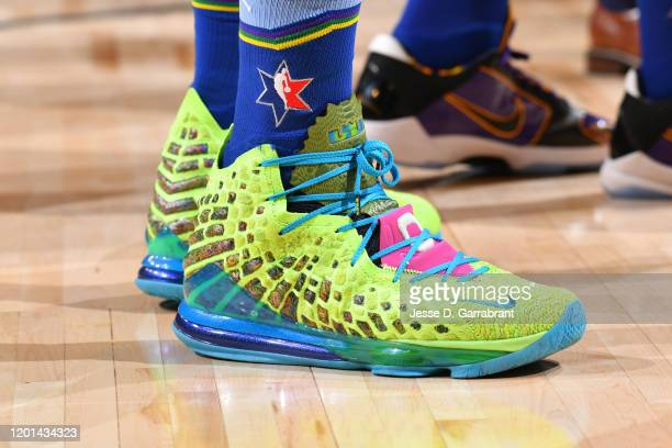 The sneakers worn by LeBron James of Team LeBron during the 69th NBA AllStar Game on February 16 2020 at the United Center in Chicago Illinois NOTE...