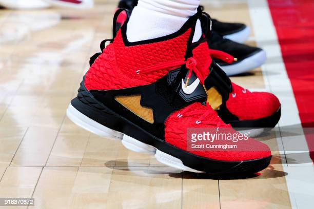 the sneakers worn by LeBron James of the Cleveland Cavaliers are seen during the game against the Atlanta Hawks on February 9 2018 at Philips Arena...