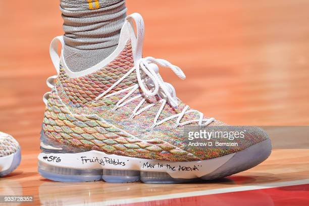 the sneakers worn by LeBron James of the Cleveland Cavaliers are seen during the game against the LA Clippers on March 9 2018 at STAPLES Center in...