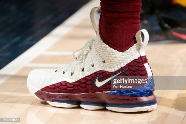 the sneakers worn by LeBron James of the Cleveland Cavaliers are seen in Game Three of Round One of the 2018 NBA Playoffs against the Indiana Pacers...