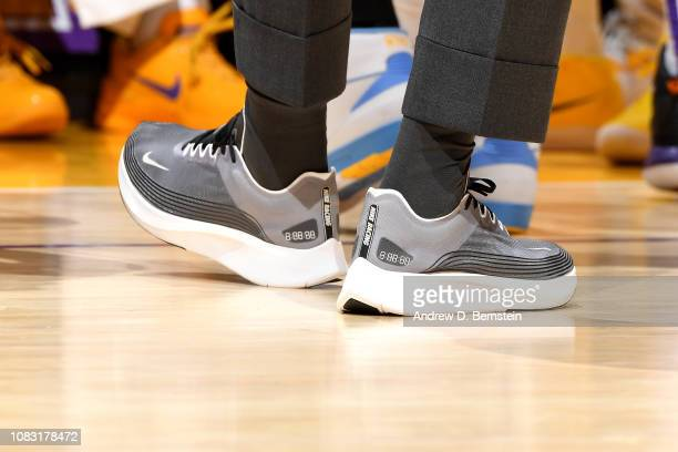 The sneakers worn by LeBron James of the Los Angeles Lakers against the Chicago Bulls on January 15 2019 at STAPLES Center in Los Angeles California...