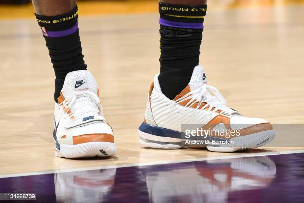 The sneakers worn by LeBron James of the Los Angeles Lakers against the Charlotte Hornets on March 29 2019 at STAPLES Center in Los Angeles...