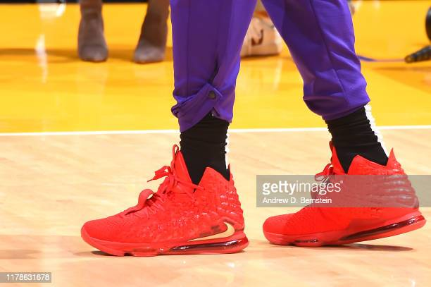 The sneakers worn by LeBron James of the Los Angeles Lakers against the Charlotte Hornets on October 27 2019 at STAPLES Center in Los Angeles...