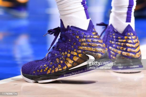 The sneakers worn by LeBron James of the Los Angeles Lakers against the Dallas Mavericks on November 1 2019 at the American Airlines Center in Dallas...