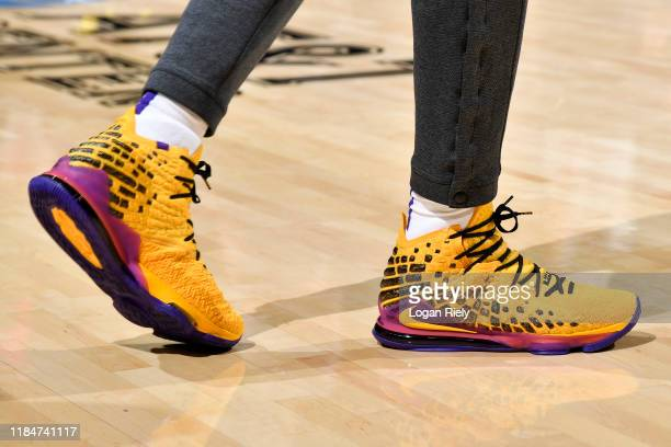 The sneakers worn by LeBron James of the Los Angeles Lakers during the game against the San Antonio Spurs on November 25 2019 at the ATT Center in...