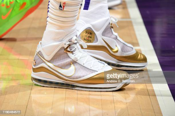 The sneakers worn by LeBron James of the Los Angeles Lakers during the game against the LA Clippers on December 25 2019 at STAPLES Center in Los...