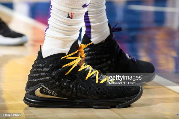 The sneakers worn by LeBron James of the Los Angeles Lakers during the game against the Philadelphia 76ers on January 25 2020 at the Wells Fargo...
