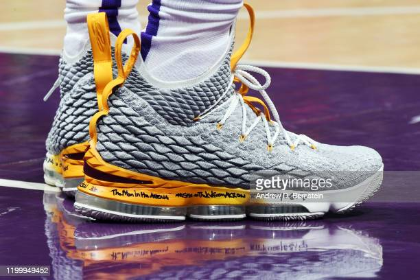 The sneakers worn by LeBron James of the Los Angeles Lakers during the game against the Phoenix Suns on February 10 2020 at STAPLES Center in Los...