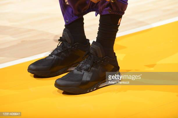The sneakers worn by LeBron James of the Los Angeles Lakers during the game against the Portland Trail Blazers on February 26, 2021 at STAPLES Center...