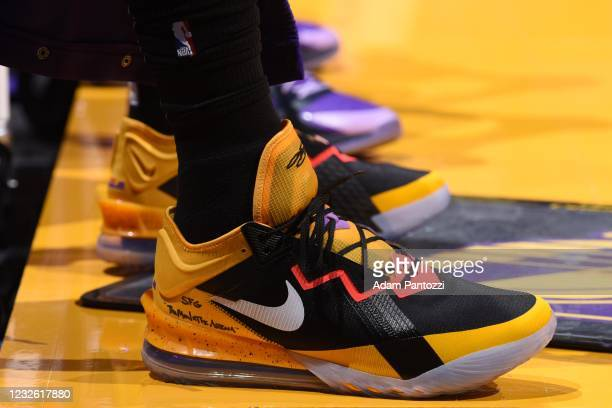 The sneakers worn by LeBron James of the Los Angeles Lakers during the game against the Sacramento Kings on April 30, 2021 at STAPLES Center in Los...