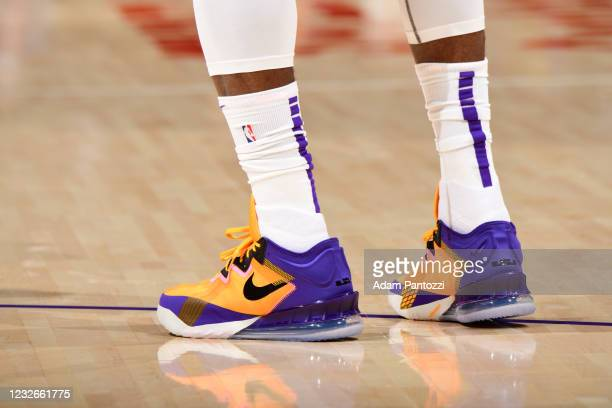 The sneakers worn by LeBron James of the Los Angeles Lakers during the game against the Toronto Raptors on May 2, 2021 at STAPLES Center in Los...