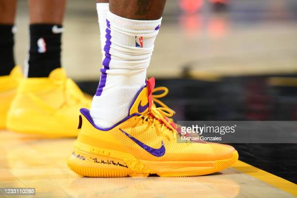 The sneakers worn by LeBron James of the Los Angeles Lakers during the game against the Phoenix Suns during Round 1, Game 2 of the 2021 NBA Playoffs...
