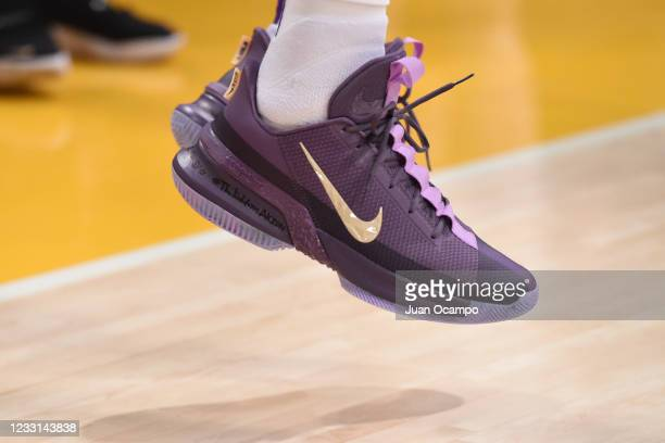 The sneakers worn by LeBron James of the Los Angeles Lakers during the game against the Phoenix Suns during Round 1, Game 3 of the 2021 NBA Playoffs...