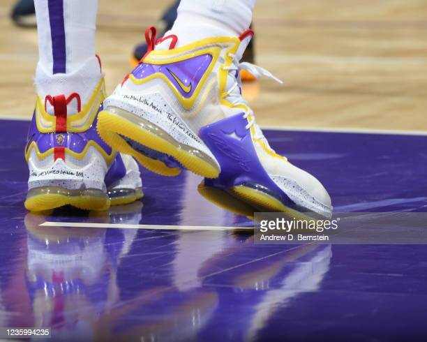 The sneakers worn by LeBron James of the Los Angeles Lakers during the game against the Golden State Warriors on October 19, 2021 at STAPLES Center...